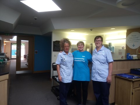 Helen from the Peterborough branch volunteering at Sue Ryder Hospice